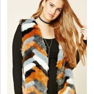 Forever 21 faux fur vest plus size